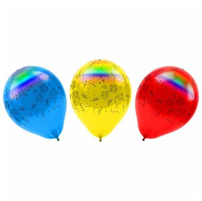 Diğer - 4lü Led Işıklı Havai Fişek Baskılı Karışık Renkli Balon