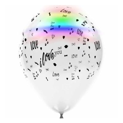 Diğer - 4lü Led Işıklı Love Temalı Karışık Renkli Balon
