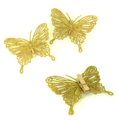 Diğer - 4lü Mandallı Simli Kelebek Süsleme Malzemesi 10cm Gold