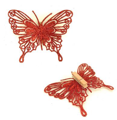 Diğer - 4lü Mandallı Simli Kelebek Süsleme Malzemesi 10cm Kırmızı