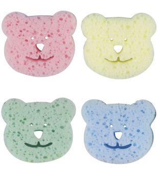 4lü Renkli Ayıcıklı Bebek Banyo Süngeri