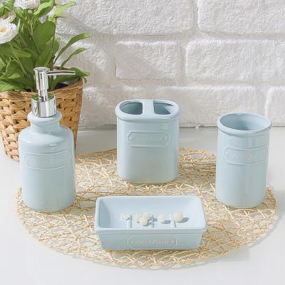 Diğer - 4lü Sade Tasarım Seramik Banyo Seti Mavi