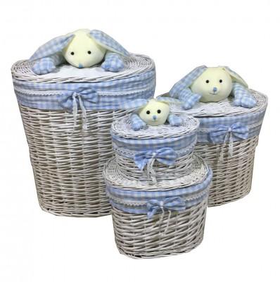 Diğer - 4lü Tavşan Figürlü Oval Hasır Çamaşır Sepeti Mavi