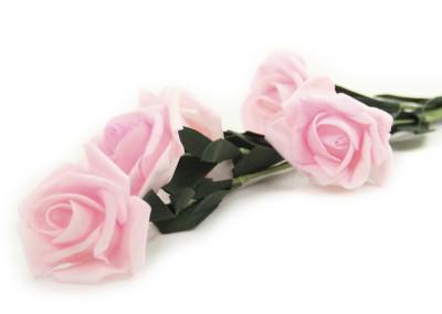 Diğer - 5 Güllü Lateks Yapay Çiçek Demeti Açık Pembe 65cm