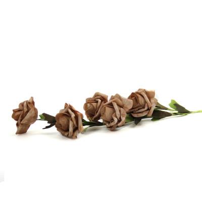 Diğer - 5 Güllü Lateks Yapay Çiçek Demeti Kahverengi 65cm