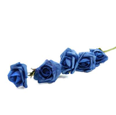Diğer - 5 Güllü Lateks Yapay Çiçek Demeti Lacivert 65cm