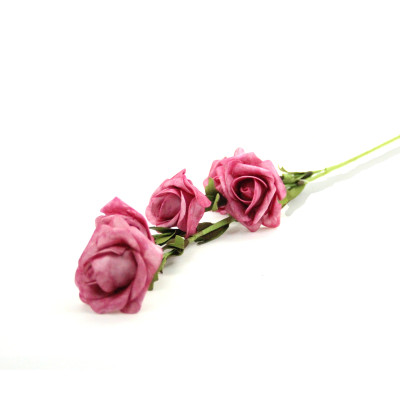 Diğer - 5 Güllü Lateks Yapay Çiçek Demeti Pembe 65cm
