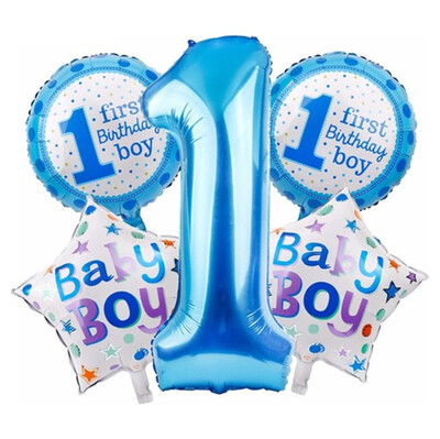 Diğer - 5 Parça 1 Yaş Temalı Dev Folyo Balon Set Mavi