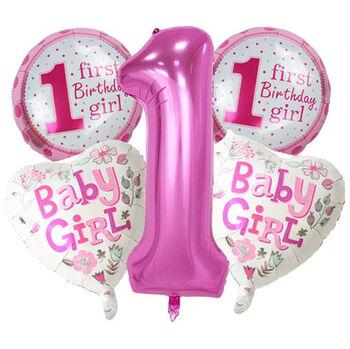 5 Parça 1 Yaş Temalı Dev Folyo Balon Set Pembe
