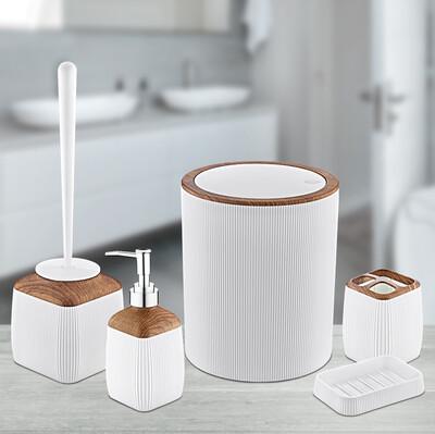 Diğer - 5 Parça Ahşap Görünümlü Çizgili Plastik Banyo Seti Beyaz