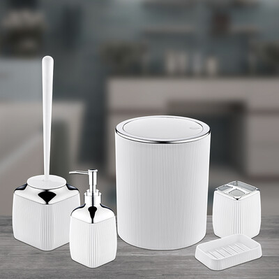 Diğer - 5 Parça Krom Detaylı Çizgili Plastik Banyo Seti Beyaz
