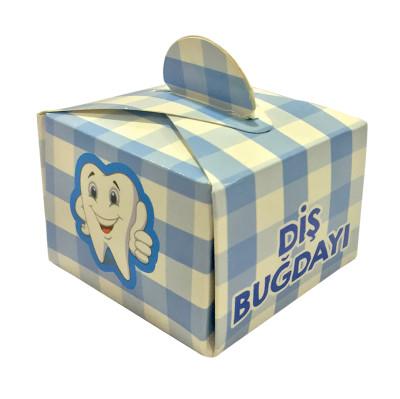 Diğer - 50li Diş Buğdayı Yazılı Mini Lokum ve Şeker Kutusu Mavi