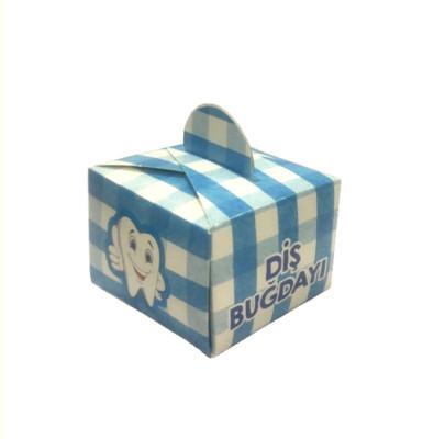 50li Diş Buğdayı Yazılı Mini Lokum ve Şeker Kutusu Mavi - Thumbnail