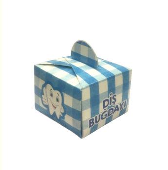 50li Diş Buğdayı Yazılı Mini Lokum ve Şeker Kutusu Mavi