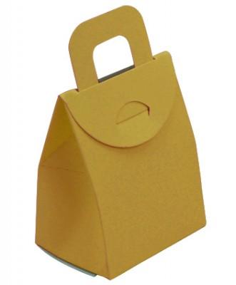 Diğer - 50li Kulplu Mini Karton Çerez ve Hediye Kutusu Gold 9cm