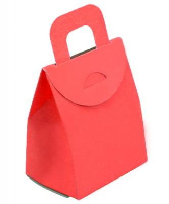 Diğer - 50li Kulplu Mini Karton Çerez ve Hediye Kutusu Kırmızı 9cm