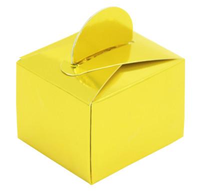 Diğer - 50li Parlak Düz Renk Mini Lokum ve Şeker Kutusu Gold
