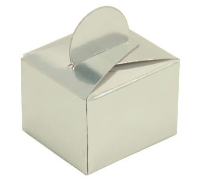 Diğer - 50li Parlak Düz Renk Mini Lokum ve Şeker Kutusu Gümüş