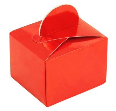 Diğer - 50li Parlak Düz Renk Mini Lokum ve Şeker Kutusu Kırmızı
