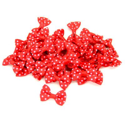 Diğer - 50li Puantiyeli Fiyonk Süsleme Malzemesi 4cm Kırmızı Pembe