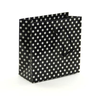 Diğer - 50li Puantiyeli Tutma İpli Mini Karton Çanta Siyah 11x11cm