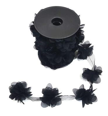 Diğer - 50li Şerit Tül Çiçek Süsleme Malzemesi Siyah