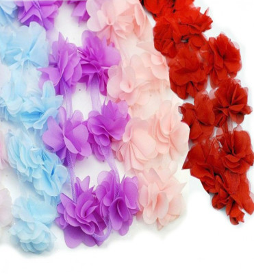 50li Şerit Tül Çiçek Süsleme Malzemesi Somon - Thumbnail