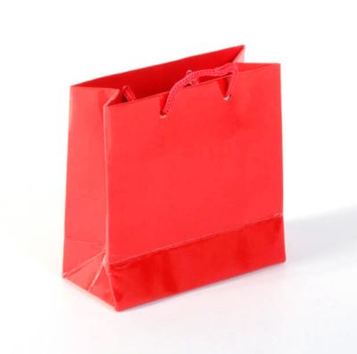 Diğer - 50li Tutma İpli Mini Hediyelik Karton Çanta Kırmızı 11x11cm