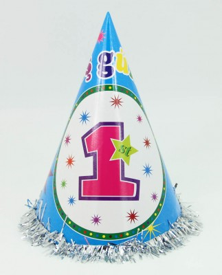 Diğer - 5li 1 Yaş Günüm Yazılı Doğum Günü Parti Şapkası Mavi