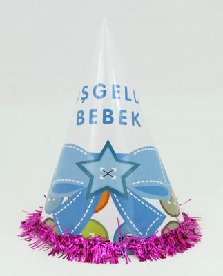 Diğer - 5li Hoşgeldin Bebek Yazılı Karton Parti Şapkası Mavi