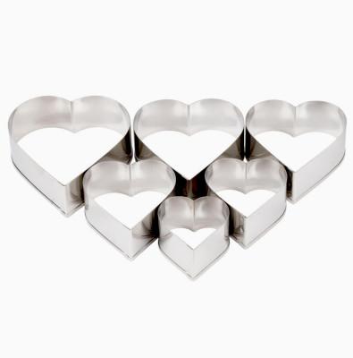 Diğer - 5li Kalp Şeklinde Metal Bisküvi ve Kurabiye Kalıpları