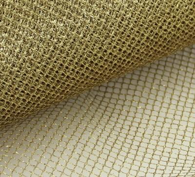 Diğer - 5mtTela Simli Süsleme Tülü Altın Rengi