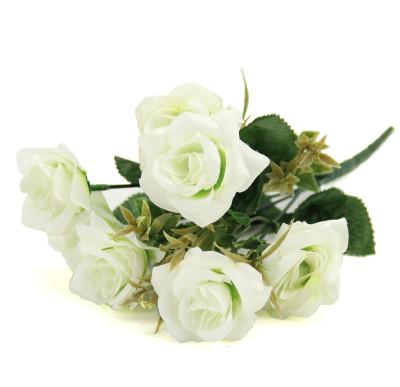 Diğer - 6 Güllü Yapay Çiçek Demeti 30cm Beyaz