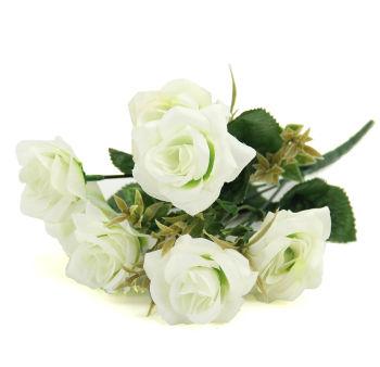 6 Güllü Yapay Çiçek Demeti 30cm Beyaz