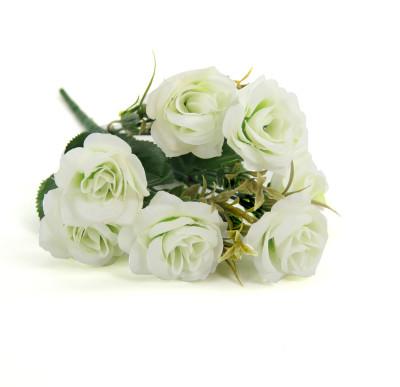 6 Güllü Yapay Çiçek Demeti 30cm Beyaz - Thumbnail