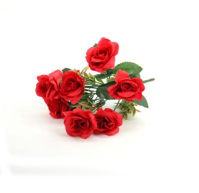 Diğer - 6 Güllü Yapay Çiçek Demeti 30cm Kırmızı