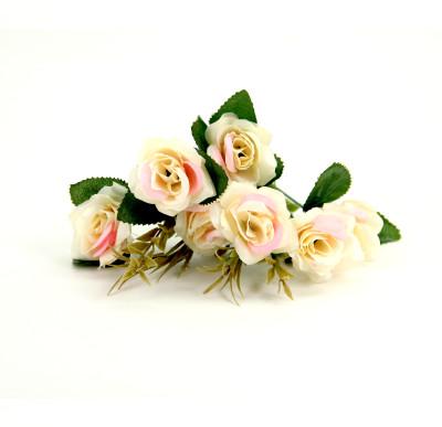 6 Güllü Yapay Çiçek Demeti 30cm Krem - Thumbnail