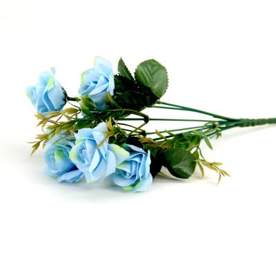 Diğer - 6 Güllü Yapay Çiçek Demeti 30cm Mavi
