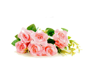 6 Güllü Yapay Çiçek Demeti 30cm Pembe