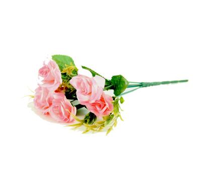 6 Güllü Yapay Çiçek Demeti 30cm Pembe - Thumbnail
