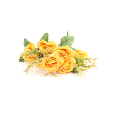 6 Güllü Yapay Çiçek Demeti 30cm Sarı - Thumbnail