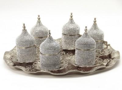 Diğer - 6 Kişilik Tepsili ve Taşlı Özel Tasarım Kahvedanlık Seti Gümüş