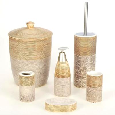 Diğer - 6 Parça Çizgili Taş Model Çöp Kovalı Seramik Banyo Seti