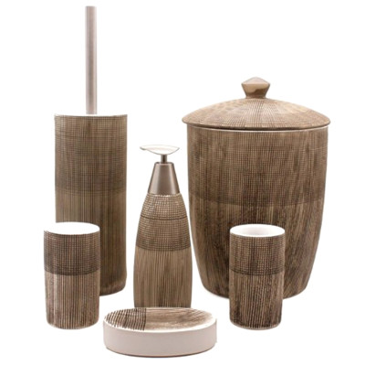 6 Parça Kahve Çizgili Çöp Kovalı Seramik Banyo Seti - Thumbnail