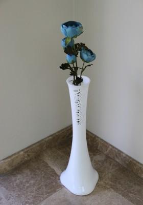 Diğer - 60cm Dantel İşlemeli Fil Ayağı Kırılmaz Mika Vazo Beyaz