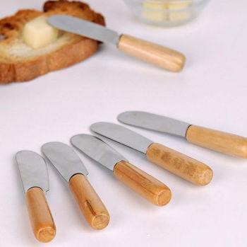 6lı Ahşap Saplı Tereyağı Sürme ve Kahvaltı Bıçağı
