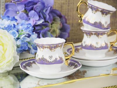 Diğer - 6lı Altın Dekorlu Porselen Kahve Fincanı Seti Lila