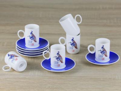 Diğer - 6lı Color Porselen Kahve Fincanı Seti