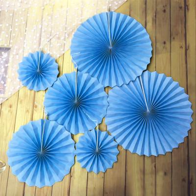 Diğer - 6lı Farklı Boylarda Düz Renk Kağıt Yelpaze Şeklinde Parti Süsü Mavi