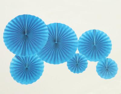 6lı Farklı Boylarda Düz Renk Kağıt Yelpaze Şeklinde Parti Süsü Mavi - Thumbnail